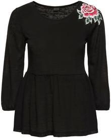 Bonprix Shirt z kwiatową aplikacją czarny