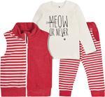 Garnamama komplet dziecięcy w paski Komfort 104 czerwony