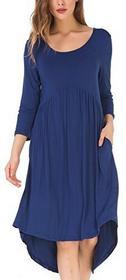 f934cb6140 niebieski kormei damska sukienka luzem asymetryczna 3 4 Arm okrągły  kołnierzyka Basic Skater sukienka z