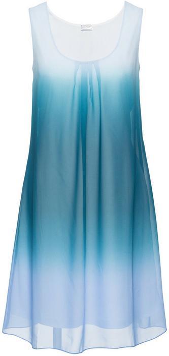Bonprix Sukienka szyfonowa niebieski batikowy - niebieskozielony
