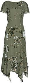 Bonprix Sukienka w kwiaty oliwkowy z nadrukiem