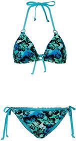 Bonprix Bikini z trójkątnymi miseczkami niebieski wzorzysty
