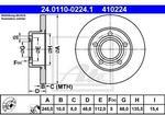 ATE TARCZA HAM 24.0110-0224.1 AUDI A4 1.8 QUATTRO 95-00. 1.9TDI QUATTRO 96-00/ VW PASSAT 1.8 96-00