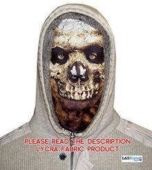 L&S PRINTS FOAM DESIGNS Halloween Skull Face Novelty Fun materiału Face maska wzornictwo snood maska na twarz wyprodukowane w Yorkshire
