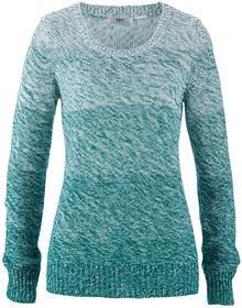 Bonprix Sweter z okrągłym dekoltem, długi rękaw ciemnoszmaragdowy