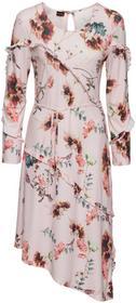 Bonprix Asymetryczna sukienka z wiązanym paskiem jasnoróżowy z nadrukiem
