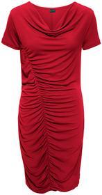 Bonprix Must have: sukienka z dżerseju z marszczeniem z boku ciemnoczerwony