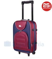 PELLUCCI Mała kabinowa walizka PELLUCCI 801 S - Granatowo / Czerwona Kratka - czerwony / granatowy