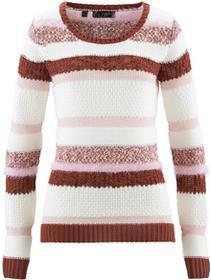 Bonprix Sweter brązowy marsala - biel wełny - bladoróżowy