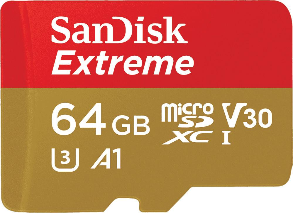 SanDisk MicroSDXC 64 GB Extreme 100MB/s A1 C10 V30 UHS-I U3 + SD Adapter + Rescue Pro Deluxe