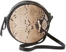 Okrągła torebka z motywem wężowej skóry