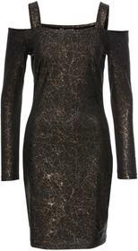 Bonprix Sukienka z dżerseju z wycięciami czarno-złoty z nadrukiem