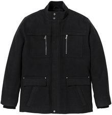 Bonprix Długa kurtka z materiału w optyce wełny Regular Fit antracytowy melanż
