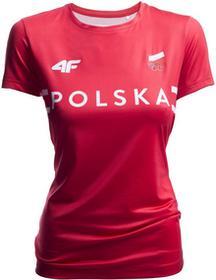 4F Koszulka treningowa damska Polska Pyeongchang 2018 TSDF900 czerwony wiśniowy [S4Z17-TSDF900] TSDF900 czerwony wiśniowy