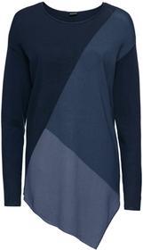 Bonprix Sweter w kontrastowym połączeniu kolorów niebieski wzorzysty
