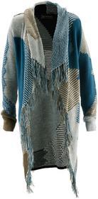 Bonprix Sweter bez zapięcia jasnoszary melanż - niebieskozielony - zielony khaki