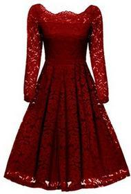 Gigileer Gigi leer 50S torebka damska sukienka sukienka koronkowa odsłonięte ramiona z długim rękawem knielang uroczysta koktajlowa suknia wieczorowa -  bez ramiączek czerwony B01MXMNJ4Q