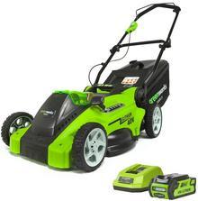 GreenWorks Tools GreenWorks Akumulatorowa Kosiarka 40 cm G-MAX 3w1 40 V zestaw z 1 baterią 4 Ah i 1 ładowarką 2500007VB) NAJTANIEJ W DECOFIRE!
