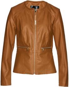 Bonprix Krótka kurtka ze sztucznej skóry, z baskinką brązowo-złoty