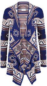 Bonprix Kardigan dzianinowy kobaltowo-stary jasnoróżowy - biel wełny wzorzysty