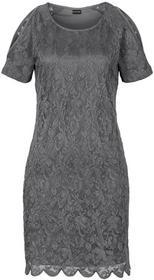 Bonprix Sukienka koronkowa z wycięciami srebrny metaliczny