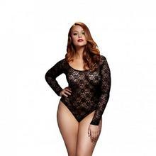 Baci Lingerie Body - Black Lacy Bodysuit Back Cutout Queen Size