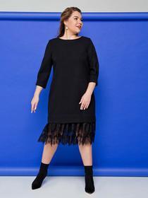 Elegancka ołówkowa sukienka obszyta koronką