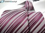Dunpillo Klasyczny Krawat Męski biały w różowe paski P483