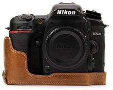"""MegaGear megagear \""""zawsze gotowa"""" prawdziwej skóry torba na aparat fotograficzny Nikon D7500Half-Bottom pokrowiec ochronnywytrzymały, odporność na zarysowania i uderzenia MG1251"""