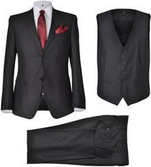 vidaXL Trzyczęściowy garnitur męski rozmiar 50 czarny