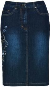 """Bonprix Spódnica dżinsowa z haftem ciemnoniebieski """"stone"""""""