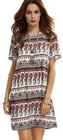 Romwe romwe damska koszulka z krótkim rękawem Casual Bohemian letnia sukienka z nadrukiem Paisley, kolor: czerwony , rozmiar: l B06XGB1QMX