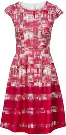 Bonprix Sukienka z materiału o wyglądzie neoprenu magenta-biały