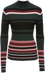 Bonprix Sweter w prążek czarno-zielono-różowy w paski