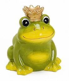 Skarbonka, żaba, żabi król z ceramiki wielkość 12cm Zielony z koroną złota, puszka na pieniądze skarbonka zamykane na klucz, urodziny chrzest prezent na urodziny