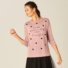 MOHITO Lekki sweter z brokatową nitką - Różowy