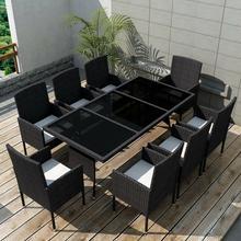 vidaXL Zestaw mebli ogrodowych, 17 części, polirattanowy, czarny