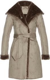 Bonprix Płaszcz ze sztucznej skóry kamienisty