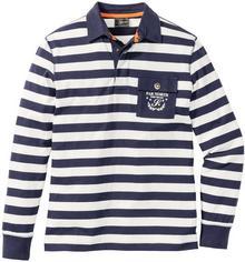Bonprix Shirt polo w paski, długi rękaw Regular Fit ciemnoniebiesko-kremowy w paski