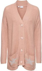 Bonprix Sweter rozpinany stary jasnoróżowy melanż