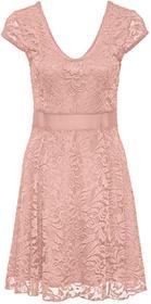 Bonprix Sukienka z dżerseju z koronką stary jasnoróżowy