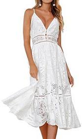 Angashion koronka dekolt w serek sałaty damska bez rękawów na plażę sukienki Mini High talię sukienka Casual Mini Dress - XL (EU 40) biały B07932HNMZ