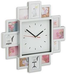 Relaxdays zegar ścienny z ramkami na zdjęcia, zegar z ramkami na zdjęcia do własnej aranżacji; wys. x szer. x gł.: 39x 39x 4cm 10021961_55