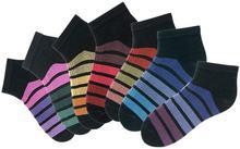 Bonprix Skarpetki damskie stopki H.I.S (7 par) czarny w kolorowe paski