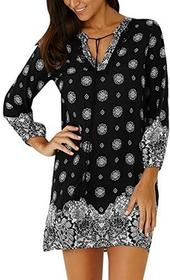 8e34a183f0 CharMma charmma Vintage Tribal Print Casual Shift damska sukienka  minisukienka - A-linie xl czarny
