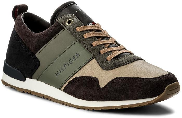 f4bd03f525736 Tommy Hilfiger Sneakersy Iconic Color Mix Runner FM0FM00614 Coffeebean Dusty  Olive 907 - Ceny i opinie na Skapiec.pl