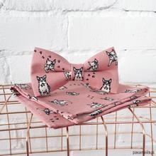 Dogue. Różowa mucha w buldogi + poszetka