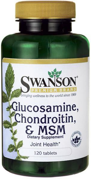 SWANSON Glukozamina, Chondroityna & MSM 120 tabletek
