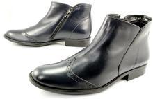 MAN FASHION 2277 GRANAT - Wysokie, eleganckie, skórzane buty męskie WYPRZEDAŻ