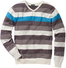 """Bonprix Sweter """"Slim fit"""" biało-szaro-turkusowy w paski"""